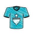 color crayon stripe cartoon blue soccer t-shirt vector image