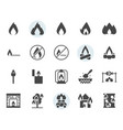 fire related icon and symbol set in glyph design vector image vector image