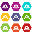 fireman helmet icon set color hexahedron vector image vector image