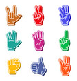 foam fingers colorful icon set vector image vector image