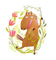 funny horse in flowers cartoon vector image vector image
