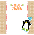 Funny penguin Christmas greeting card design vector image vector image