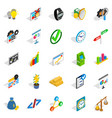 golden time icons set isometric style vector image vector image