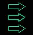 green neon arrows set vector image vector image