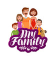 happy large family banner parents and children vector image vector image