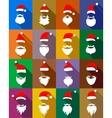 Hats and beards Santa set flat style vector image