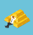 isometric businessman resting with the pile of vector image