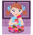little girl in kitchen with cupcakes vector image