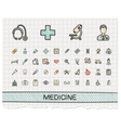Medical hand drawing line icons doodle vector image vector image