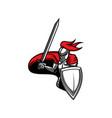 medieval knight heraldic mascot icon vector image vector image
