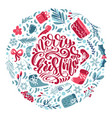 merry christmas calligraphic lettering hand vector image vector image