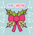 merry christmas celebration red ribbon bow leaves vector image