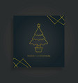 merry christmas greeting card christmas tree vector image