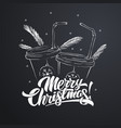 merry christmas lettering with coffee paper cups vector image