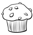 muffin with chocolate coloring book vector image vector image