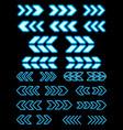 neon arrow set on dark background direction symbol vector image vector image