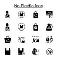 no plastic bag icons set graphic design vector image