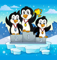 penguin winners theme image 3 vector image vector image