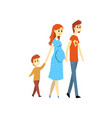 pregnant family couple and their son cartoon vector image