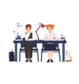 primary school boy and girl in uniform sitting at vector image