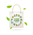 realistic detailed 3d eco tote bag farm product vector image