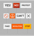 realistic detailed 3d protest banner set vector image vector image