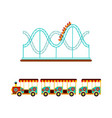 rollercoaster and train ride in amusement park vector image vector image