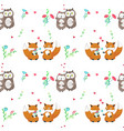seamless pattern with cute animals couples vector image vector image