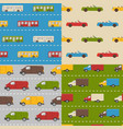 set of seamless patterns with colorful cars vector image