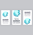 set vertical banner with violent sea waves cut vector image vector image