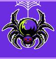 spider mascot hanging on spider web vector image vector image