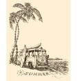 surf van on beach sketch vector image