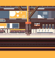 train station interior background empty platform vector image vector image