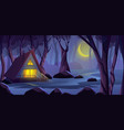 wooden cottage house in night forest on the vector image