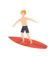 young man on a surfboard surfer guy character vector image vector image