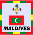official ensigns flag and coat of arm of maldives vector image
