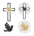 set of dove icons religious signs vector image