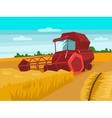 Harvester gather wheat cartoon vector image