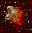 abstract of low poly lion with line connecting vector image