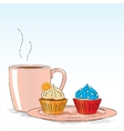 Afternoon snack with cupcakes vector image