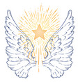 angels wings with a star ornamental baroque style vector image vector image
