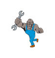 Angry Gorilla Mechanic Spanner Cartoon Isolated vector image vector image