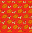 autumn leaves and seeds on red background vector image