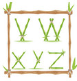 bamboo letter alphabet green set f vector image