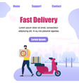 bearded man character delivery pizza box in hands vector image vector image