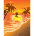 beautiful sunset beach vector image