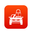 car with padlock icon digital red vector image vector image