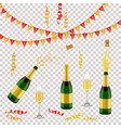 champagne bottle glass flags and spiral confetti vector image vector image