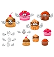 Chocolate cupcakes and caramel pudding vector image