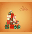 christmas greeting card with gift boxes in vintage vector image vector image
